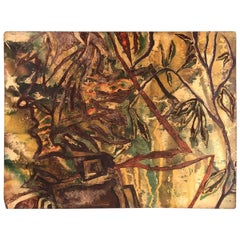 Mid-Century Modern Abstract Painted Panel, Mid-20th Century