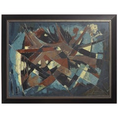 Mid-Century Modern Abstract Painting by Hugo Mohl, Dated 1968