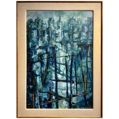 Mid-Century Modern Abstract Painting, Original Frame and Linen Mat