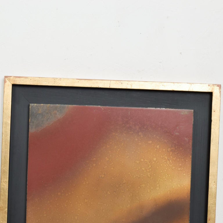 Mexican Mid-Century Modern Abstract Patinated Brass Wall Art by Raul Monje, Mexico, 1980 For Sale