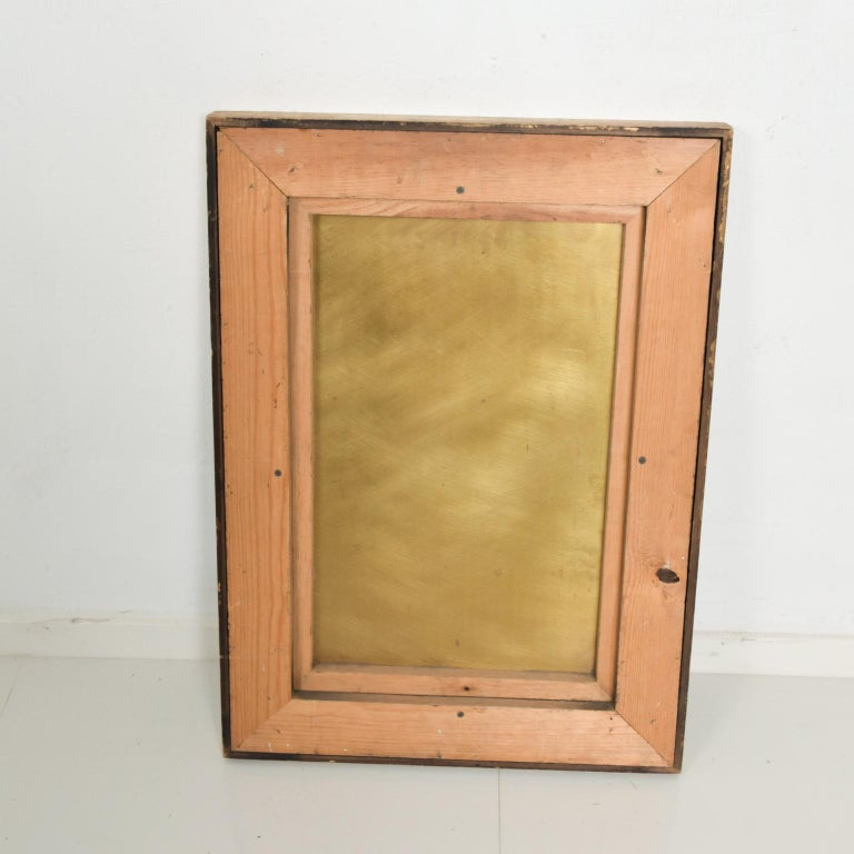 We are pleased to offer for your consideration, an Abstract art. The composition is patinated brass. The wall art is by Raul Monje, Mexico, 1980.  Dimensions: Frame 29 1/2