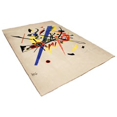 Mid-Century Modern Abstract Rug Tapestry Inspired by Kandinsky Small Worlds