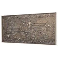 Mid-Century Modern Abstract Textured Media Plaque Wall Art in Patinated Aluminum