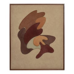 Mid-Century Modern Abstract Wall Art in Suede-Leather