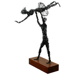 Mid-Century Modern Abstracted Metal Wire Table Sculpture Wood Base Dancers 1960s