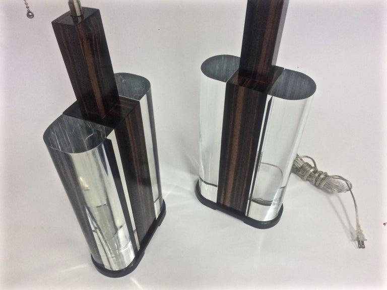Moderne Lampen 90 : Mitte des jahrhunderts moderne acryl und makassar ebenholz lampen