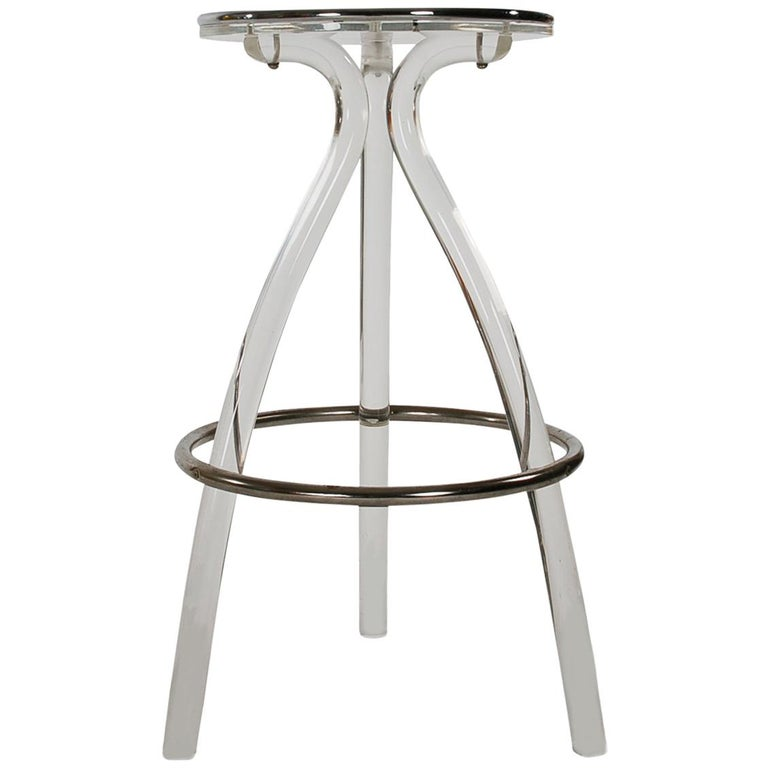 Mid Century Modern Acrylic Lucite Counter Or Bar Stool By Hill Mfg