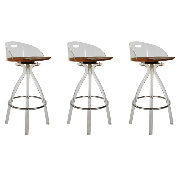 American Mid-Century Modern Acrylic Lucite Counter Stools or Bar Stools by Hill Mfg. For Sale