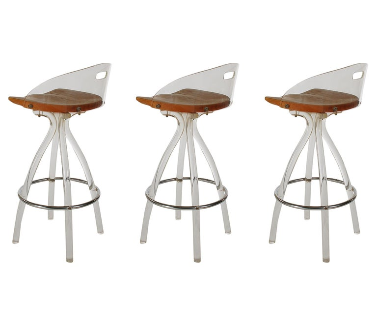Late 20th Century Mid-Century Modern Acrylic Lucite Counter Stools or Bar Stools by Hill Mfg. For Sale