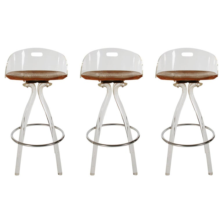 Mid-Century Modern Acrylic Lucite Counter Stools or Bar Stools by Hill Mfg. For Sale