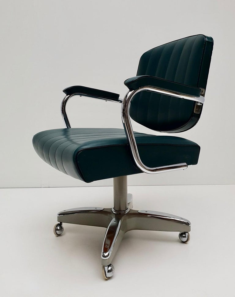 Mid-Century Modern Adjustable Armchair / Office Chair Rolling Swivel 3