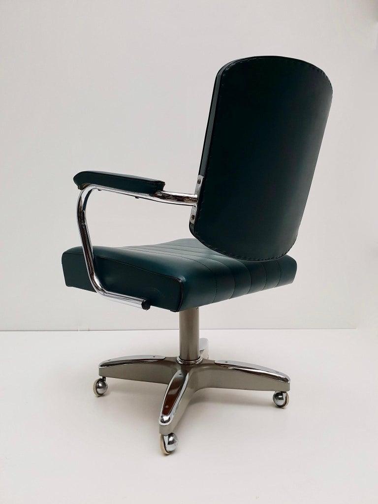 Mid-Century Modern Adjustable Armchair / Office Chair Rolling Swivel 4