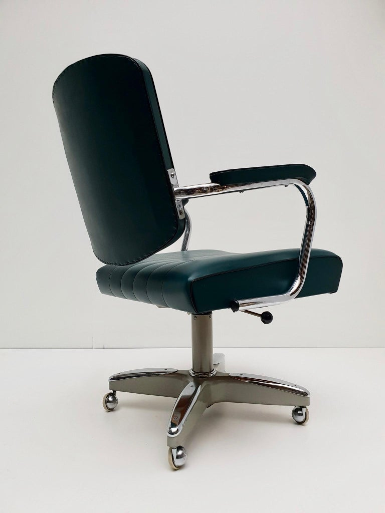 Mid-Century Modern Adjustable Armchair / Office Chair Rolling Swivel 5