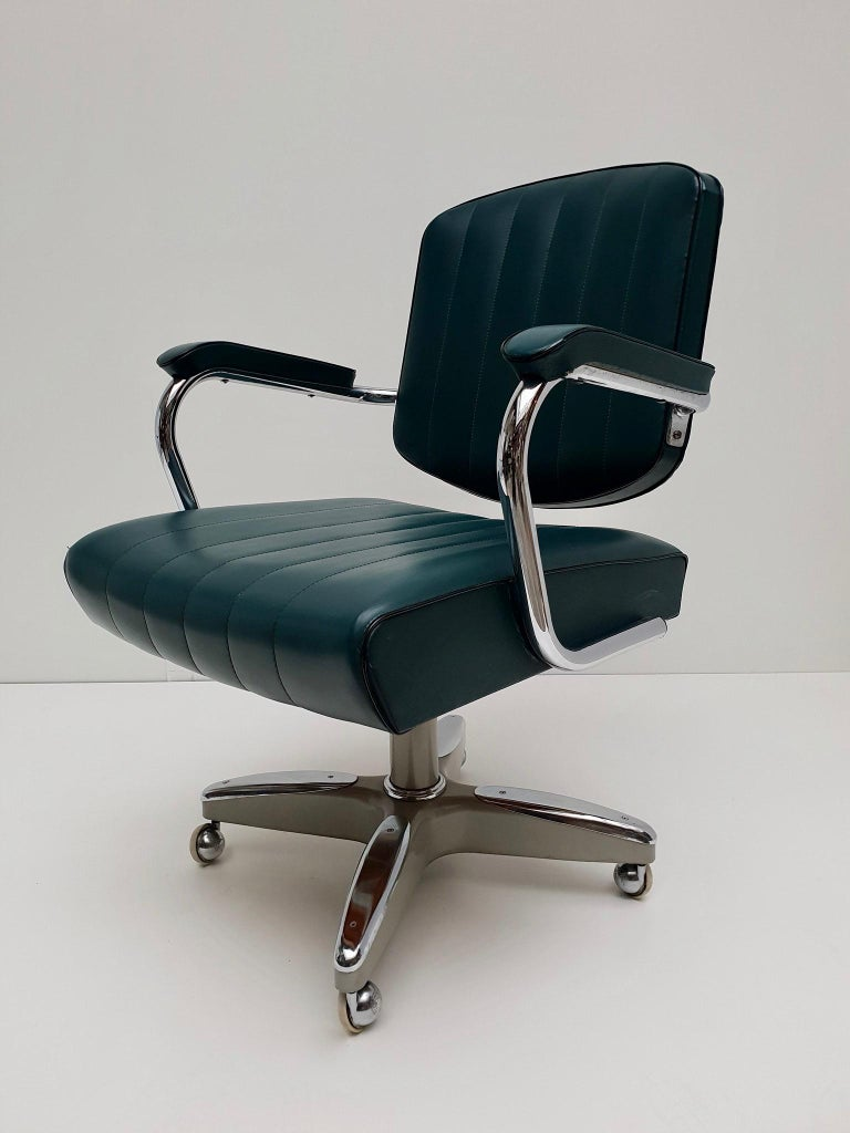 Mid-Century Modern Adjustable Armchair / Office Chair Rolling Swivel 6