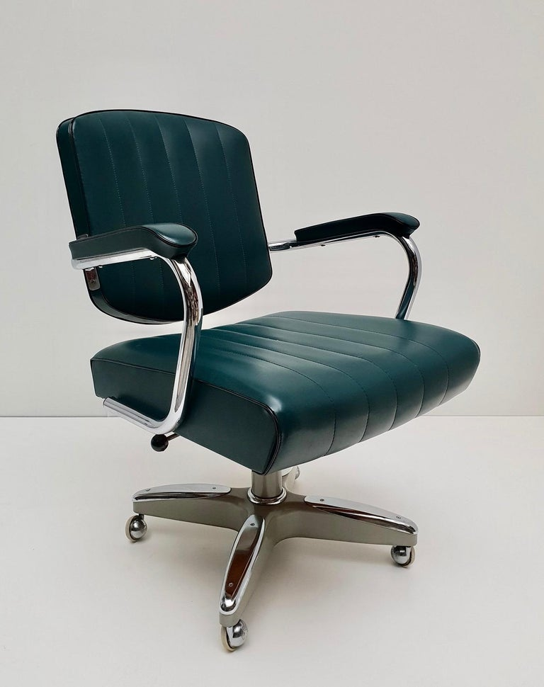 Mid-Century Modern Adjustable Armchair / Office Chair Rolling Swivel 7