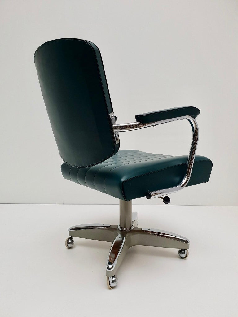 Mid-Century Modern Adjustable Armchair / Office Chair Rolling Swivel 8