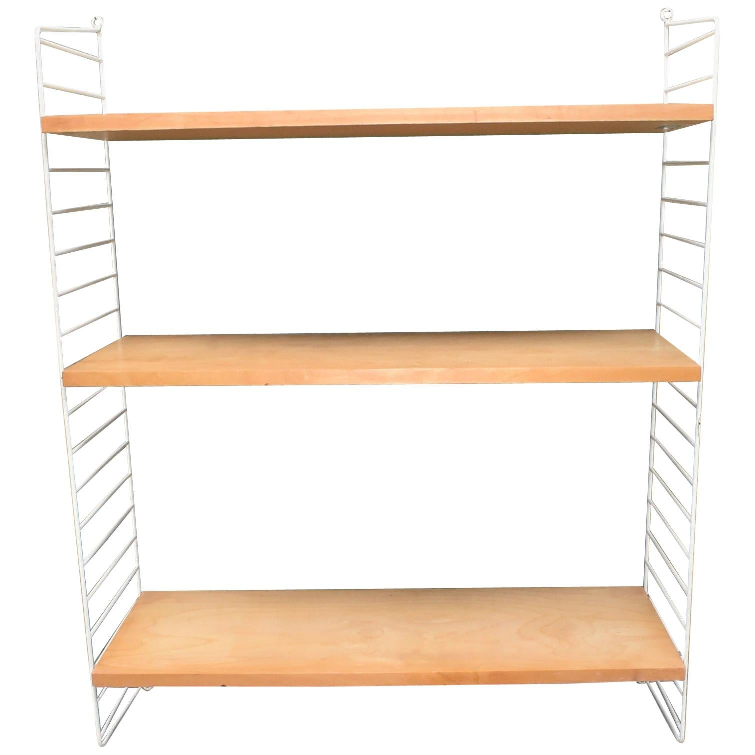 Mid-Century Modern Adjustable Birch & Coated Wire Wall Shelves by String Sweden