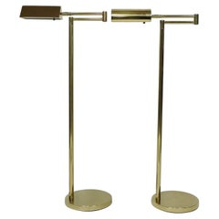 Mid-Century Modern Adjustable Brass Floor Lamp Koch & Lowy Style, Two Available