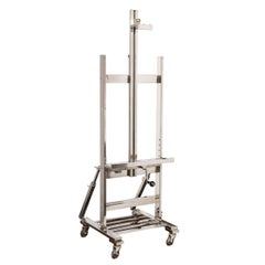 Mid-Century Modern Adjustable Polished Chrome Easel on Castors
