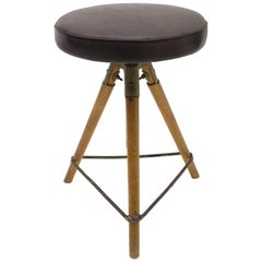 Mid-Century Modern Adjustable Swiss Stool in Leather Metal and Wood, 1940s/50s