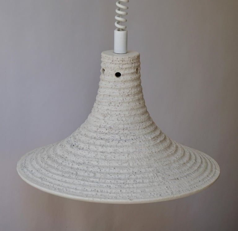 Mid-Century Modern Adjustable White Ceramic Pendant, Italy, 1950s For Sale 5