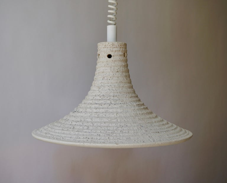 Italian Mid-Century Modern Adjustable White Ceramic Pendant, Italy, 1950s For Sale