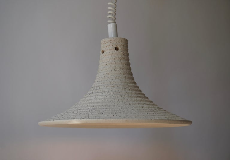 Mid-Century Modern Adjustable White Ceramic Pendant, Italy, 1950s In Good Condition For Sale In Antwerp, BE