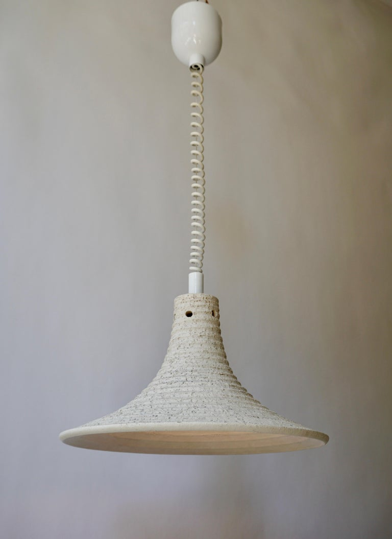 20th Century Mid-Century Modern Adjustable White Ceramic Pendant, Italy, 1950s For Sale