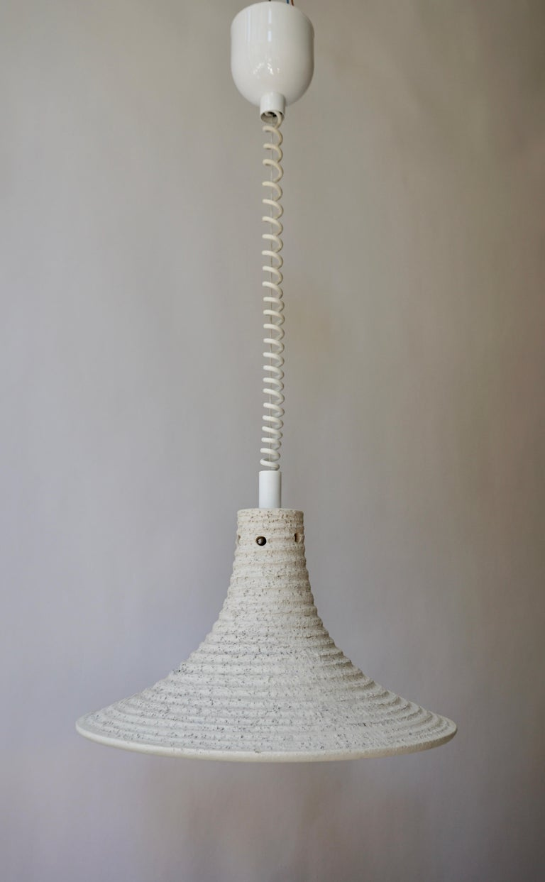 Mid-Century Modern Adjustable White Ceramic Pendant, Italy, 1950s For Sale 1