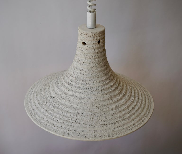 Mid-Century Modern Adjustable White Ceramic Pendant, Italy, 1950s For Sale 3