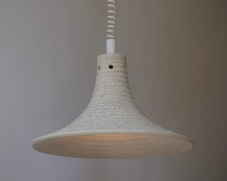 Mid-Century Modern Adjustable White Ceramic Pendant, Italy, 1950s For Sale 4