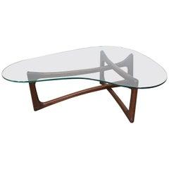 Mid-Century Modern Adrian Pearsall Amorphous Kidney Walnut & Glass Coffee Table