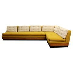 Mid-Century Modern Adrian Pearsall Craft Plinth Base 2 Pc Sectional Sofa, 1960s