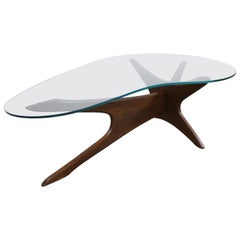 Mid-Century Modern Adrian Pearsall Kidney Walnut and Glass Coffee Table