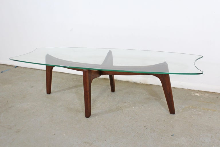 American Mid-Century Modern Adrian Pearsall Stingray Walnut and Glass Coffee Table For Sale