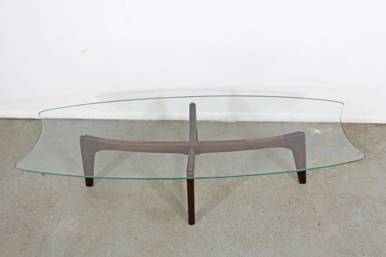 Mid-Century Modern Adrian Pearsall Stingray Walnut and Glass Coffee Table In Good Condition For Sale In Wilmington, DE