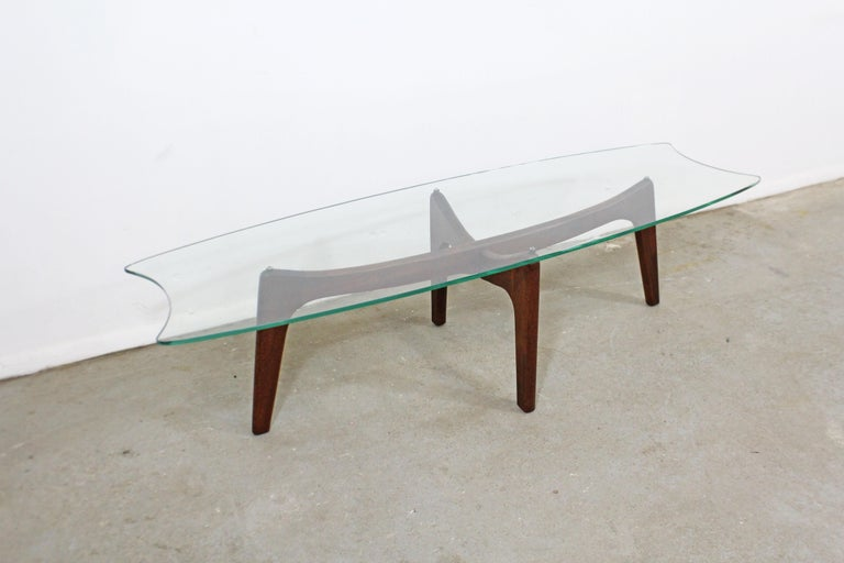 20th Century Mid-Century Modern Adrian Pearsall Stingray Walnut and Glass Coffee Table For Sale