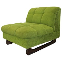 Mid-Century Modern Adrian Pearsall Style Green Sculpted Leg Slipper Chair