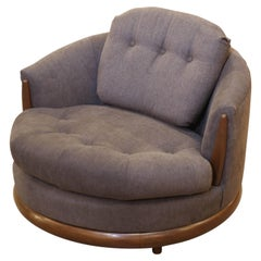 Mid-Century Modern Adrian Pearsall Style Grey Wide Barrell Chair