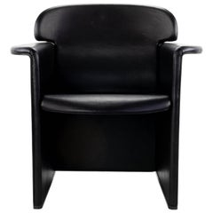 Mid Century Modern Afra & Tobia Scarpa Black Leather Club Chair, Italy, 1970