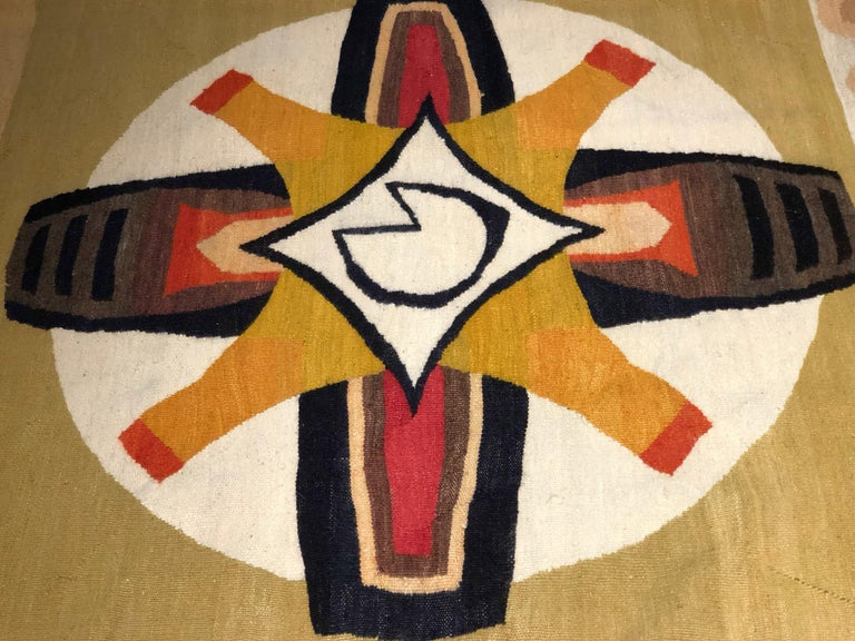 Mid-Century tapestry  designed by Betty Cilliers-Barnard (1914-2010) and handwoven by Marquerite Stephens in Johannesburg, South Africa. Entitled