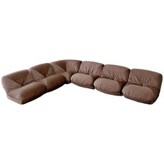 Mid-Century Modern Airborne Patate Six-Piece Sectional Sofa 1970s Velvet, French