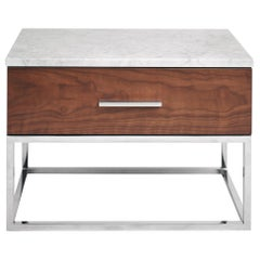 Mid-Century Modern Akureyri Bedside Table in Walnut, Stainless Steel and Marble