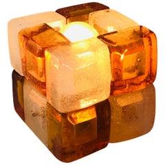 Mid-Century Modern Albano Poli for Poliarte Orange Murano Glass Cube Lamp, 1960s
