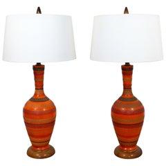 Mid-Century Modern Aldo Londi Bitossi Pair of Striped Ceramic Table Lamps, Italy