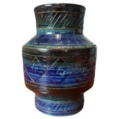 Mid-Century Modern Aldo Londi Rimini Blue Bitossi Ceramic Italy Vase, 1960s