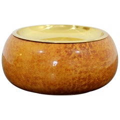 Mid-Century Modern Aldo Tura Goatskin Parchment Covered Bowl Brass Lid, 1950s