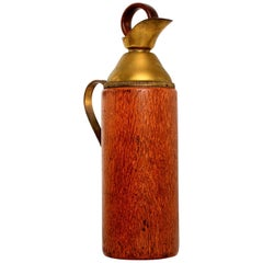 Mid-Century Modern Aldo Tura Teak Wood and Brass Italian Pitcher