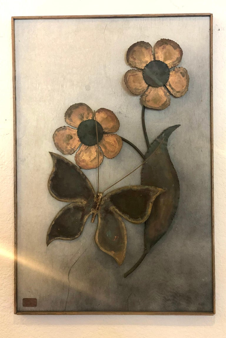 For your consideration is a delightful, patinated brass and copper on wood, hanging wall sculpture, signed and dated by listed artist Alex Kovacs, 1972. In great original vintage condition, and frame.