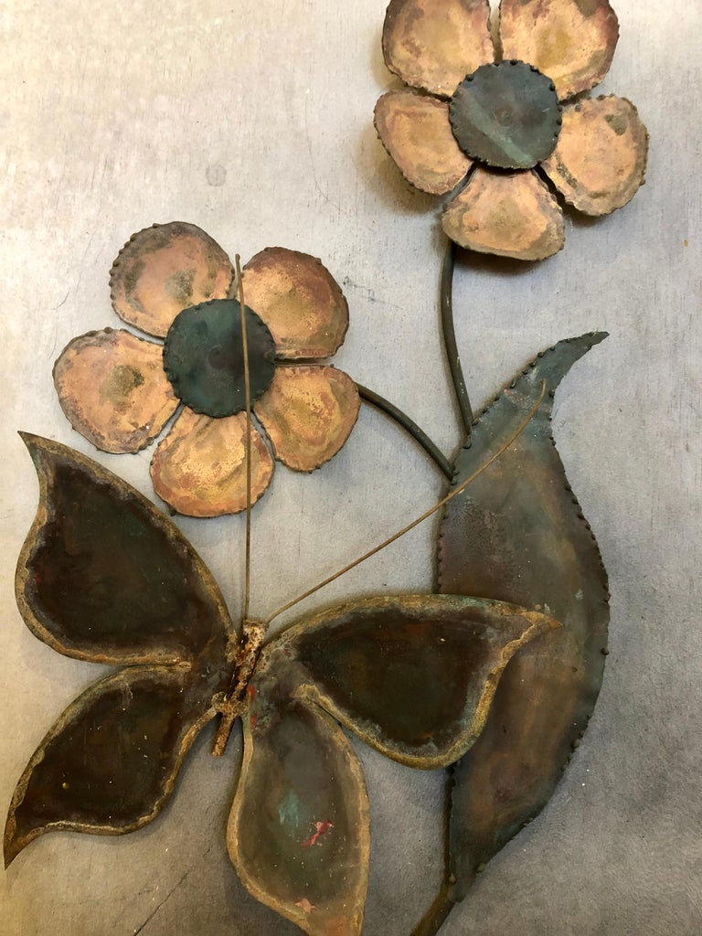 Mid-Century Modern Alex Kovacs Patinated Brass Wall Art Sculpture 1972 Signed In Good Condition For Sale In San Diego, CA